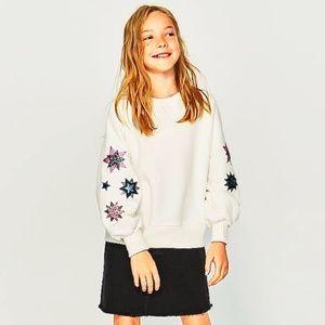 Zara girls sweatshirt with sequined stars
